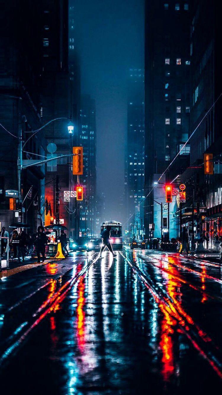 Hình ảnh thành phố về đêm buồn