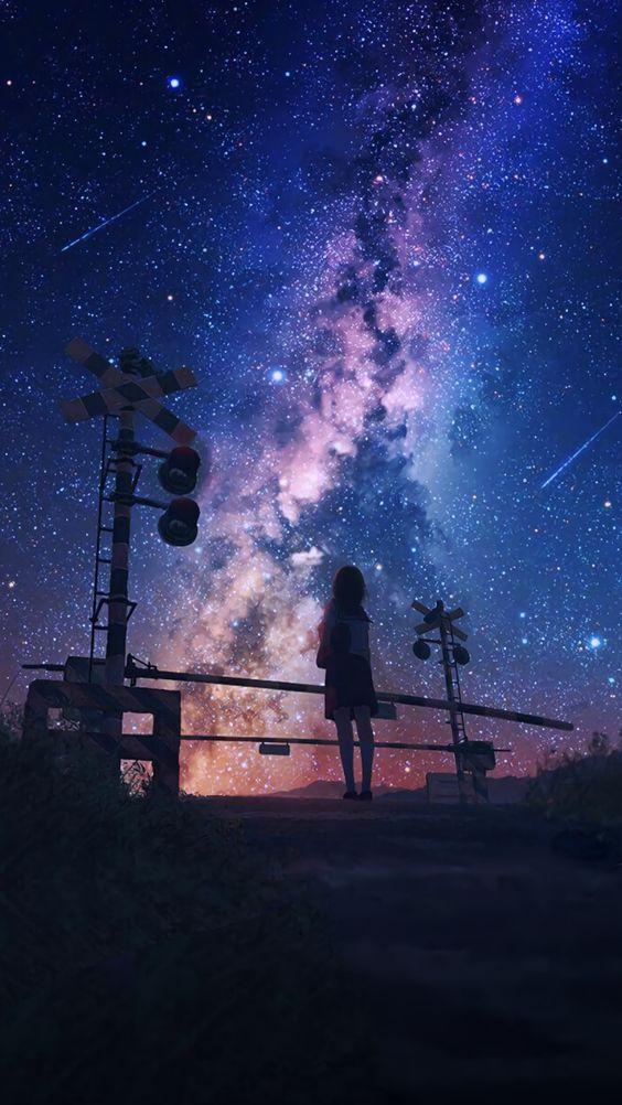 Hình anime cô gái một mình trong đêm