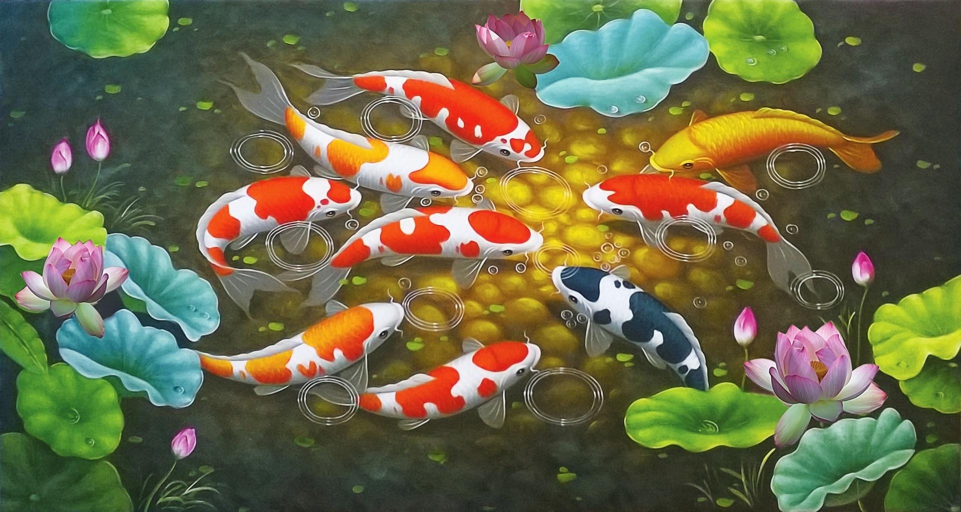 Hình nền cá chép 3D đẹp