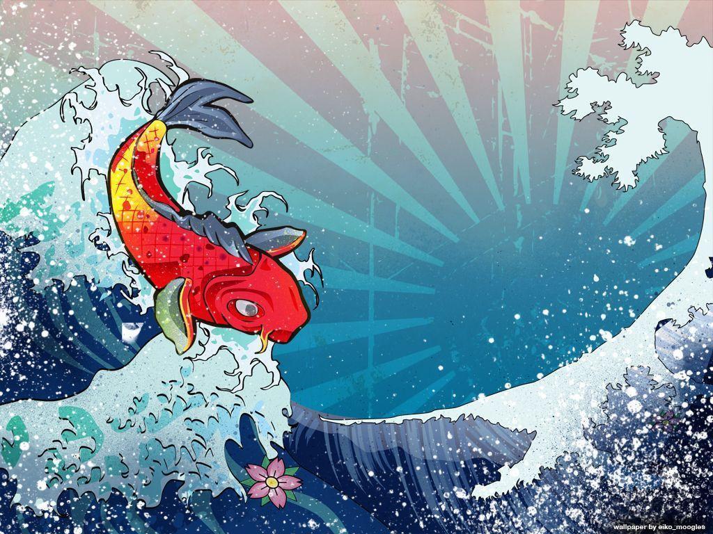 Hình nền cá chép hóa rồng