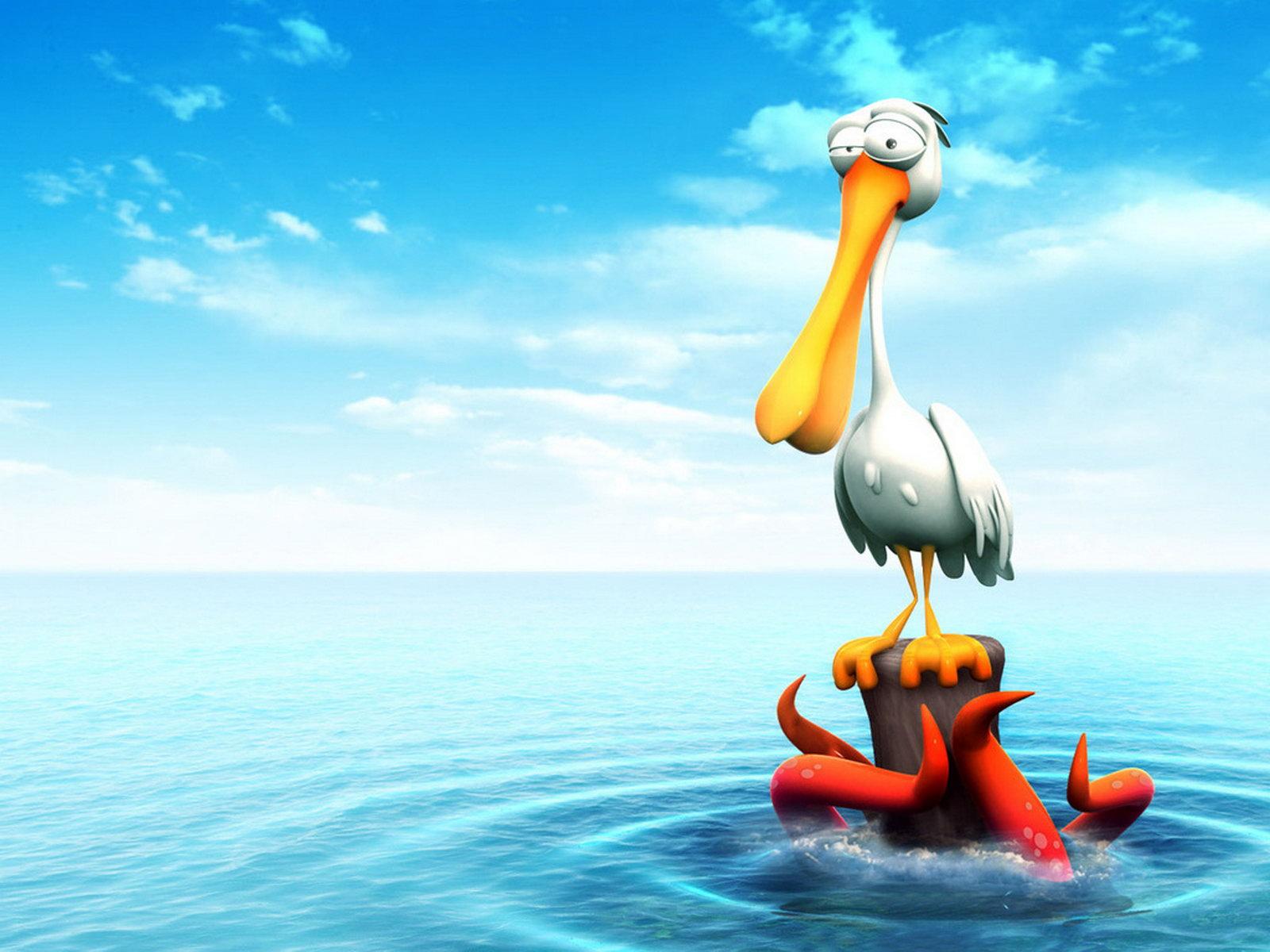 Hình nền chim bồ nông 3D