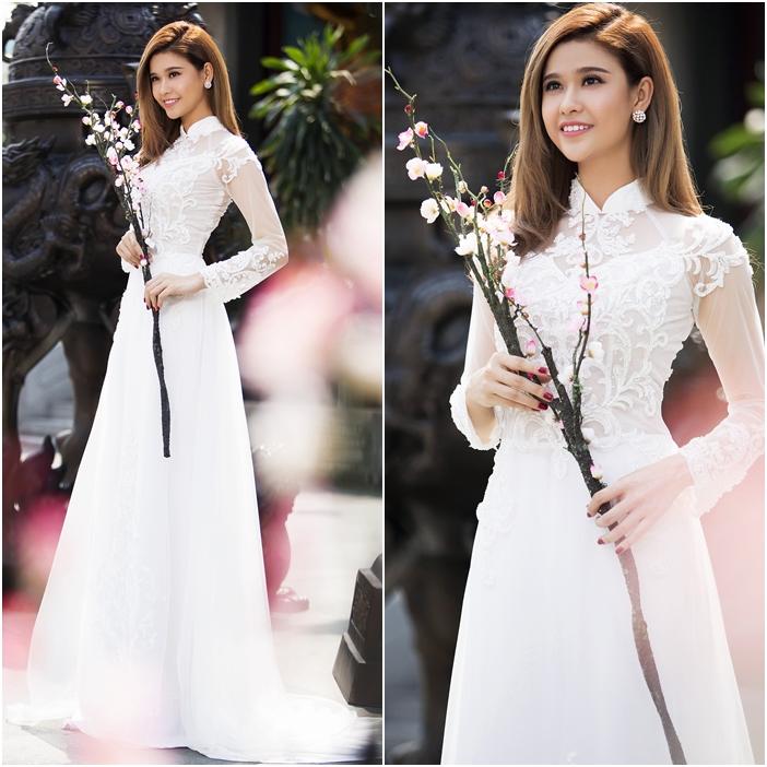 Áo dài cưới đẹp màu trắng chất voan