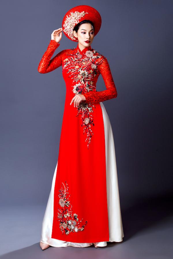 Áo dài cưới kết hoa màu đỏ