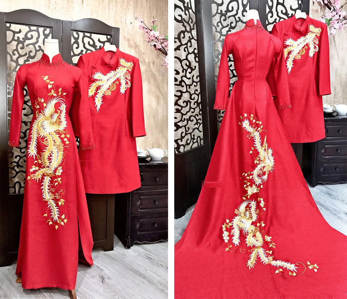 Áo dài đám cưới thêu hình rồng phượng