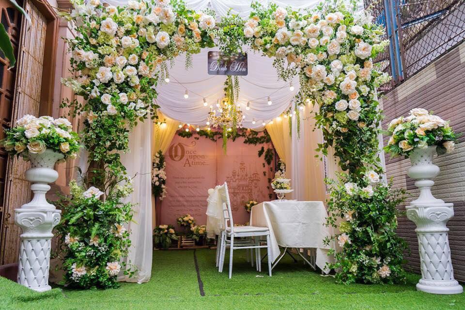Cổng hoa cưới lụa đẹp mới nhất