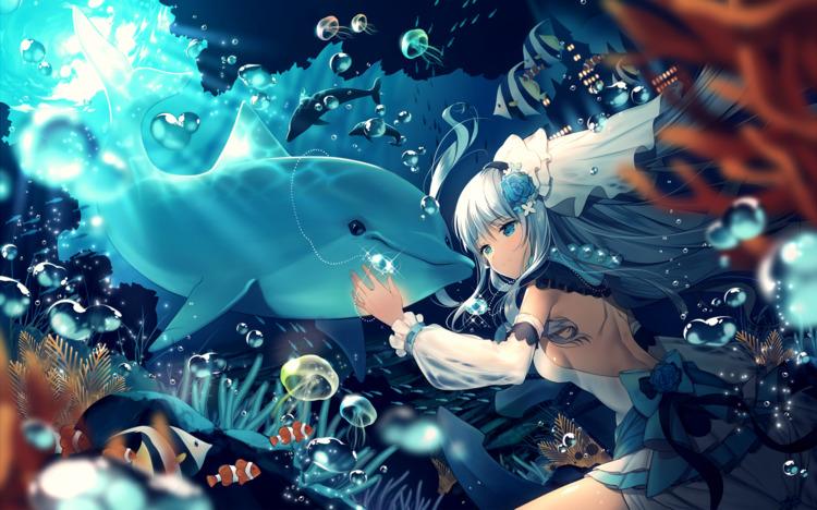 Hình ảnh anime cá heo và cô gái