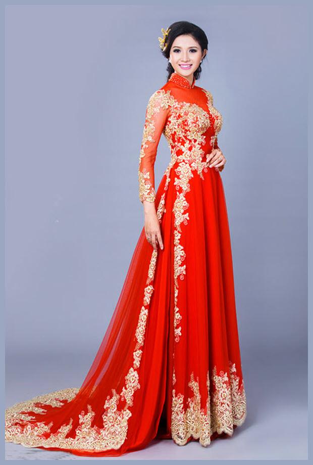 Mẫu áo dài cưới cách tân đẹp