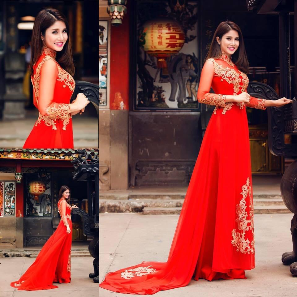 Mẫu áo dài cưới đỏ đẹp, sang trọng cho cô dâu trong ngày cưới