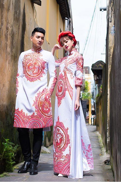 Mẫu áo dài cưới đôi cách tân cho cô dâu chú rể đẹp nhất