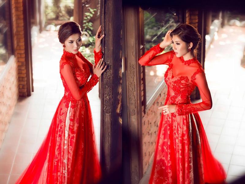 Mẫu áo dài cưới màu đỏ ấn tượng