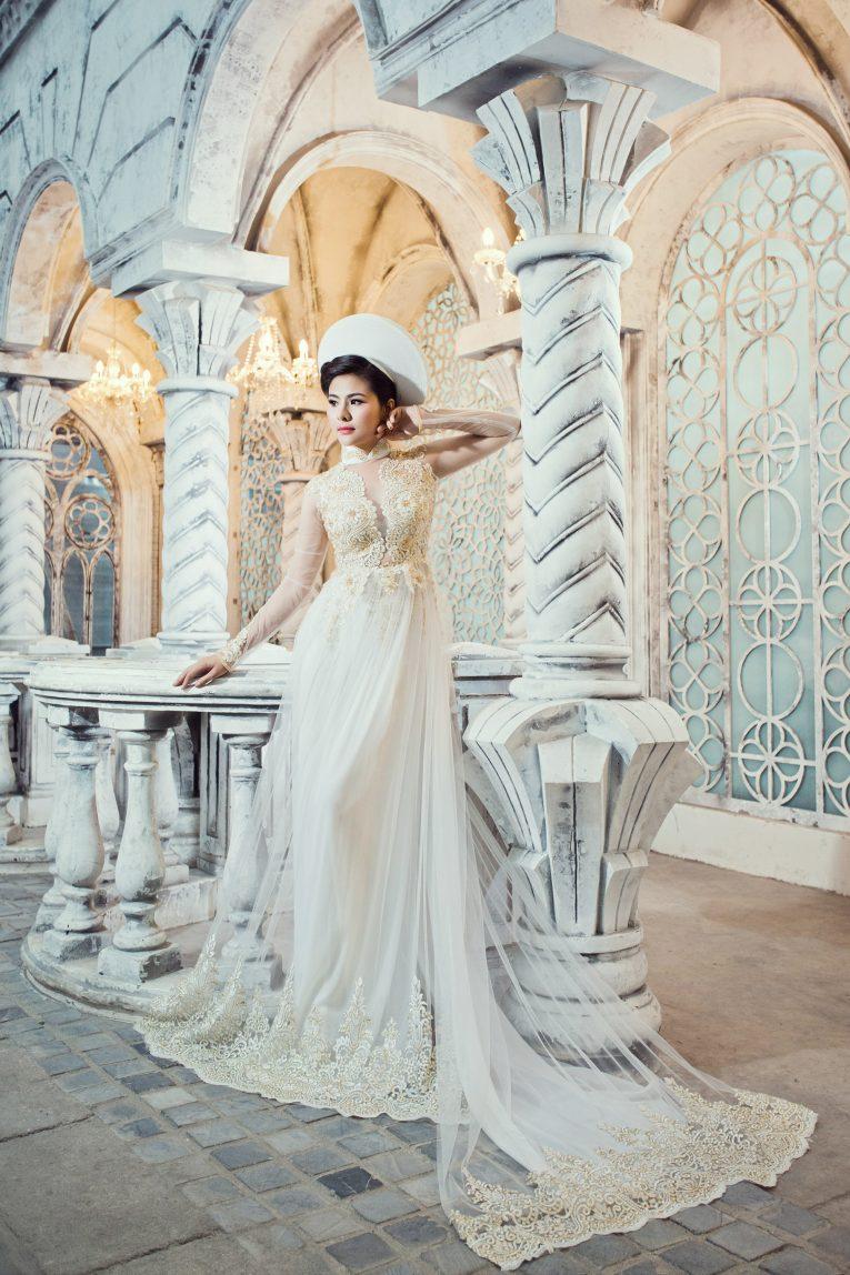 Mẫu áo dài cưới màu trắng