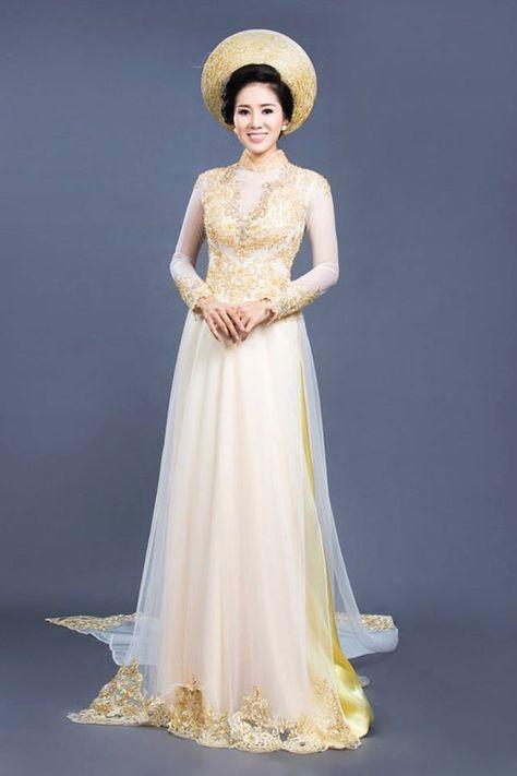 Mẫu áo dài cưới màu vàng đẹp nhất