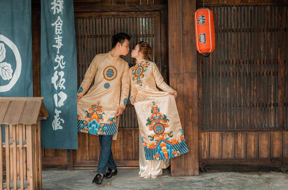 Mẫu áo dài cưới màu vàng đồng đẹp nhất