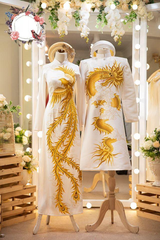 Mẫu áo dài cưới rồng phượng