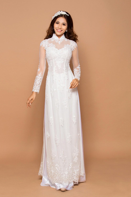 Mẫu áo dài cưới trắng đơn giản