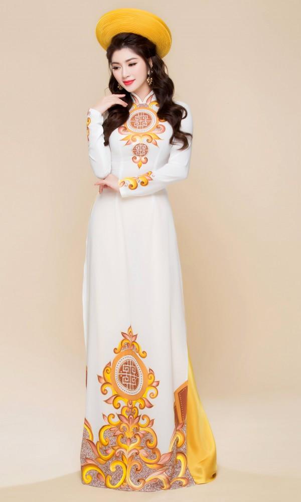 Mẫu áo dài cưới trắng họa tiết đẹp