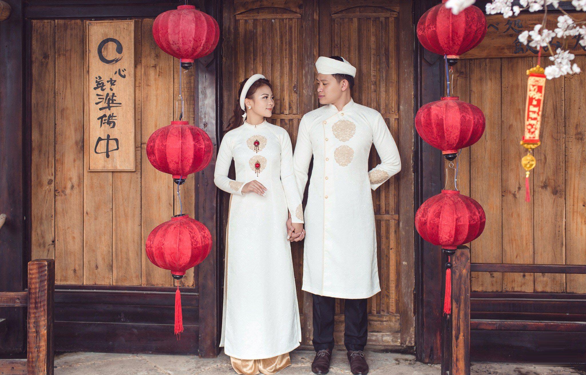 Mẫu áo dài cưới truyền thống cho cô dâu chú rể