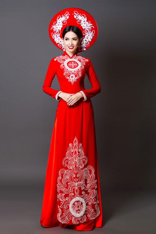Mẫu áo dài tông đỏ trắng cho cô dâu đẹp nhất