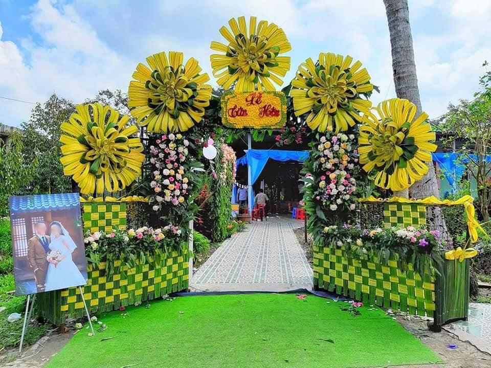 Mẫu cổng cưới lá dừa đẹp