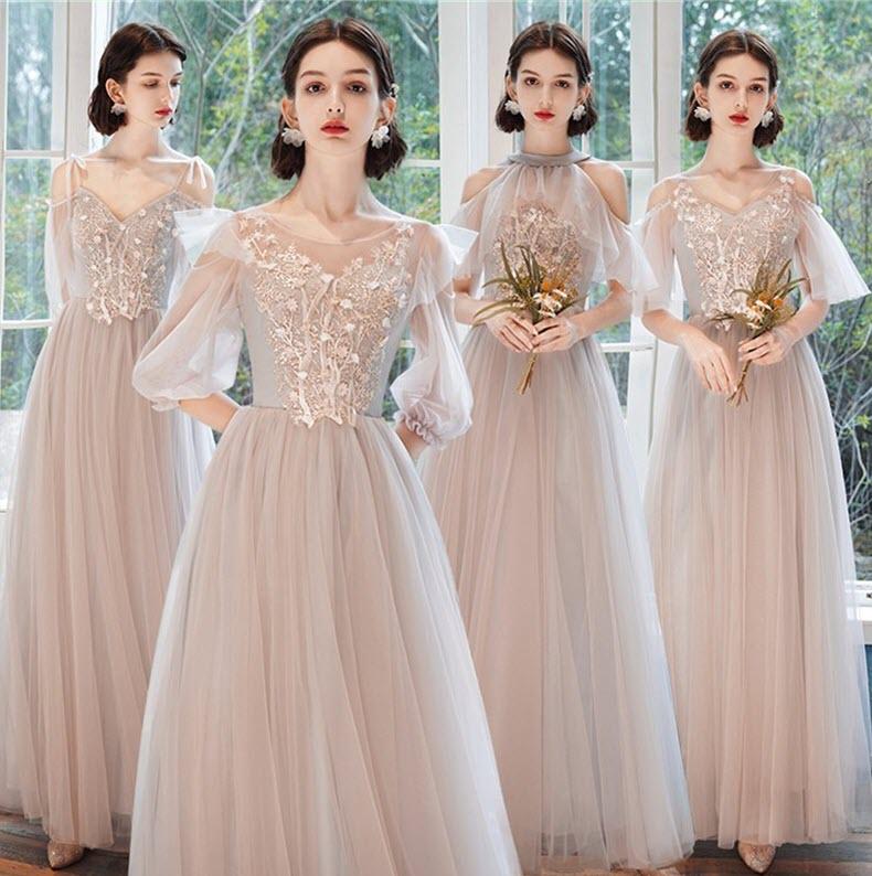 Mẫu váy phù dâu dáng dài sang trọng hiện đại