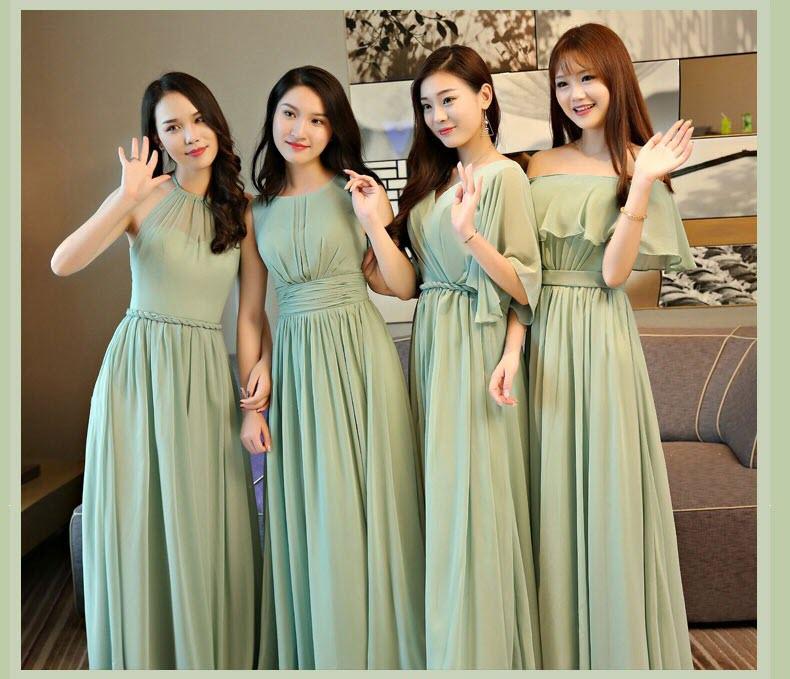 Mẫu váy phù dâu tone xanh đẹp nhẹ nhàng