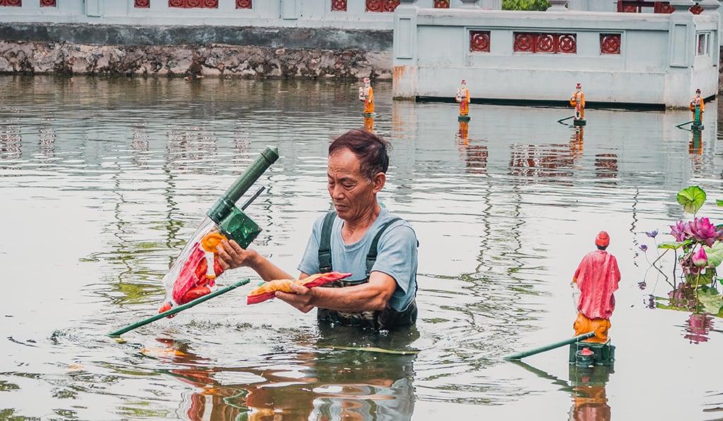 Ảnh làng nghề lưu giữ nghề múa rối nước truyền thống tại Hà Nội