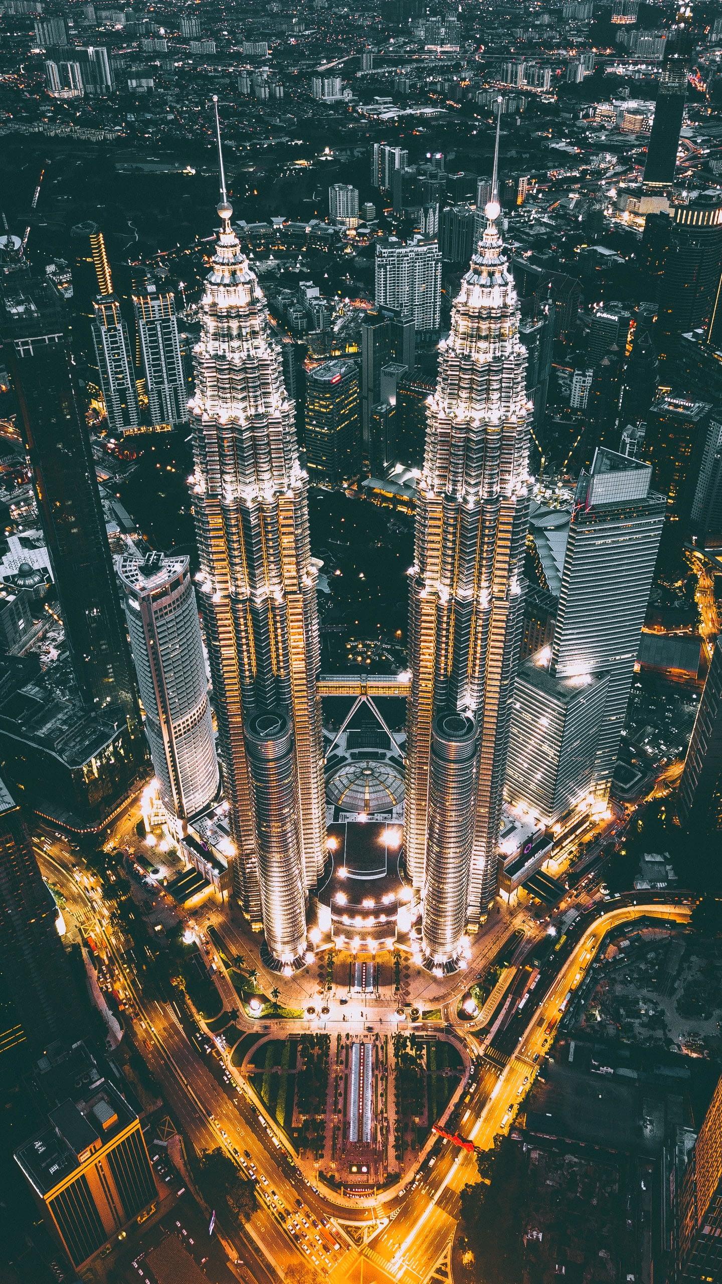 Ảnh tòa tháp đôi Malaysia nhìn từ trên cao