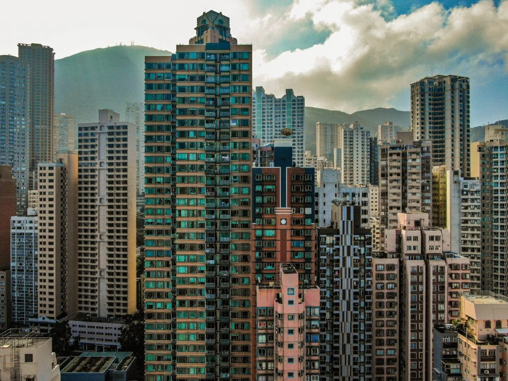 Ảnh các tòa nhà chọc trời ở Hồng Kông chụp gần