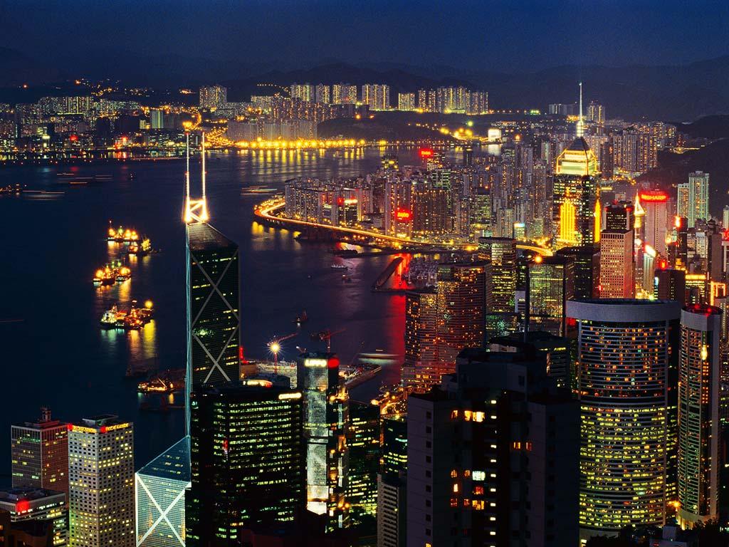 Ảnh các tòa nhà ở Hồng Kông hướng nhìn ra cảng Victoria