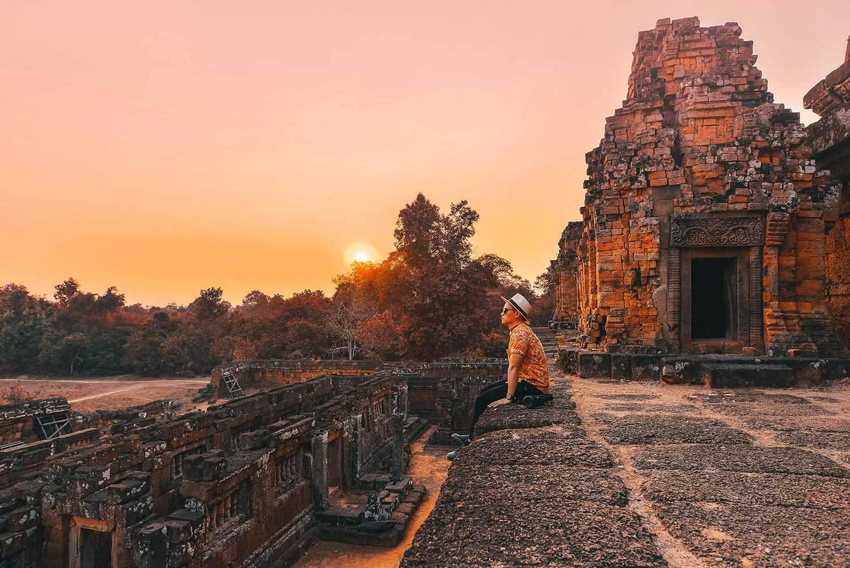 Ảnh đền Angkor Wat chiều hoàng hôn cực đẹp
