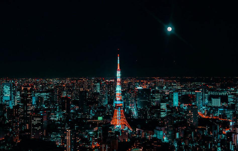 Ảnh tháp Tokyo rực rỡ ánh đèn về đêm