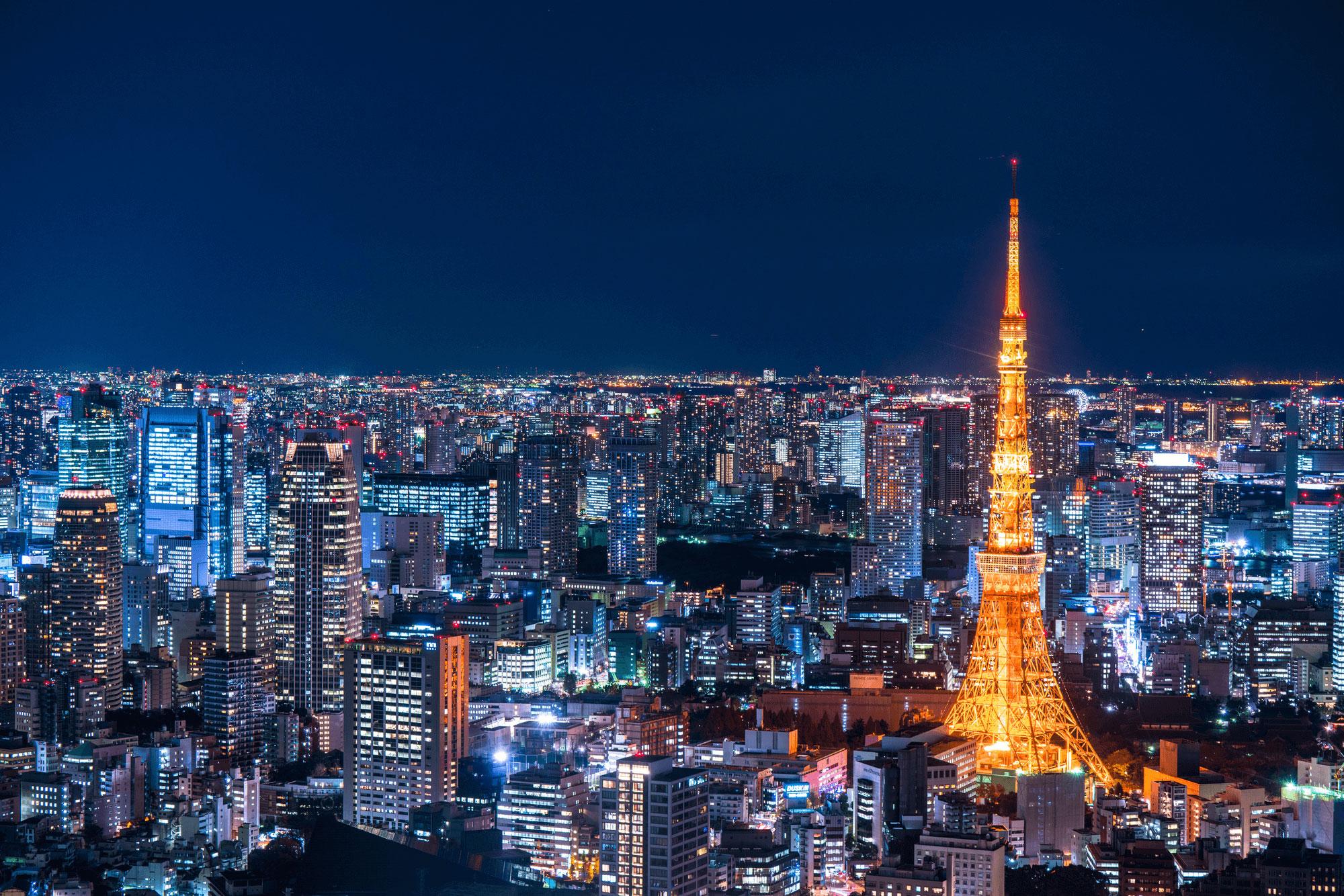 Ảnh tháp Tokyo và toàn cảnh thành phố về đêm