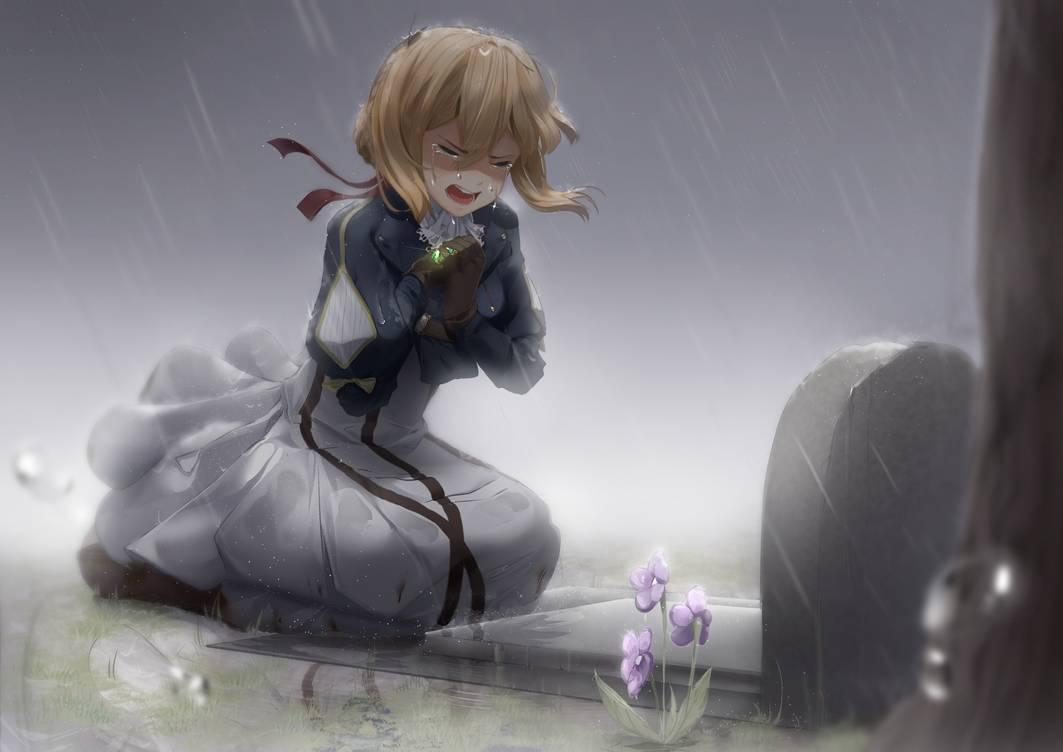 Hình ảnh girl anime buồn khóc dưới mưa