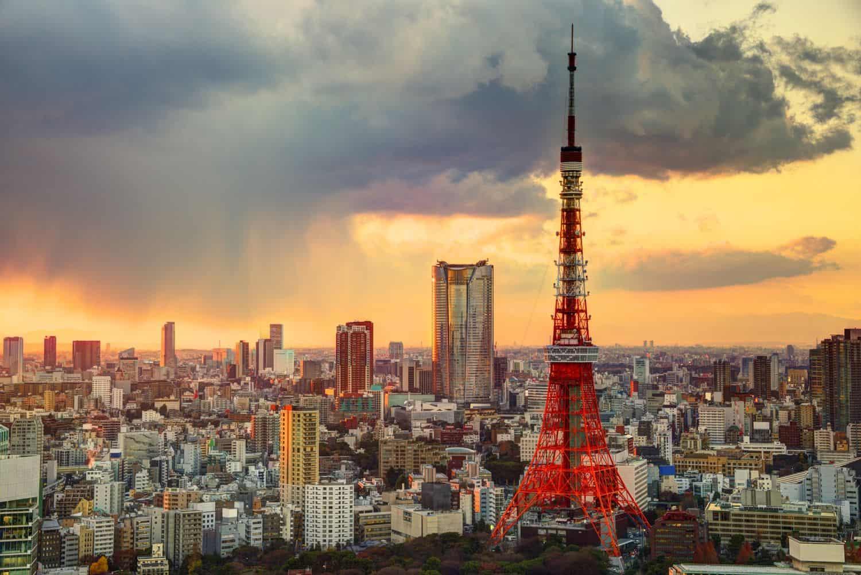 Hình chụp tháp Tokyo và khung cảnh toàn thành phố