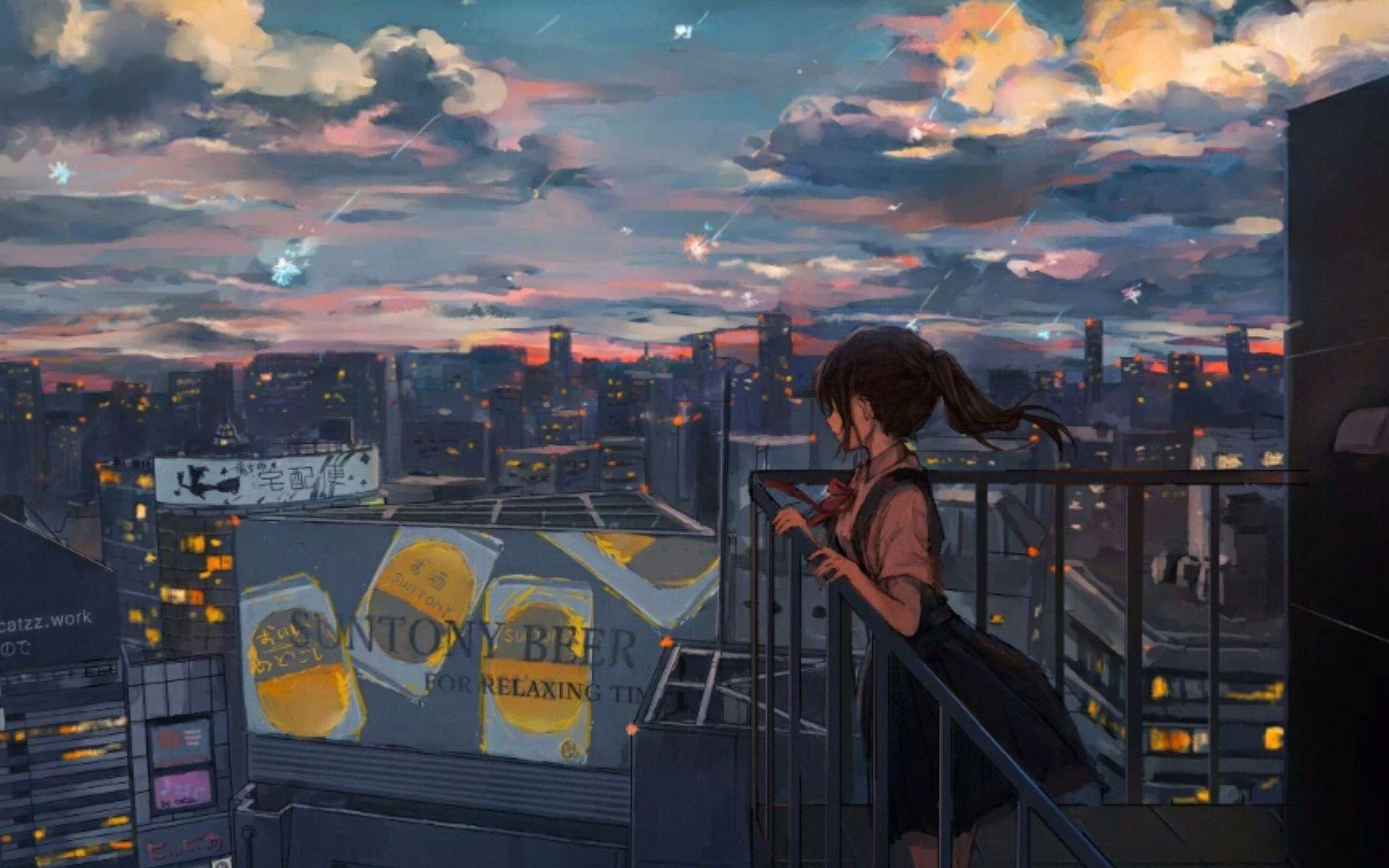 Sad anime girl on rooftop