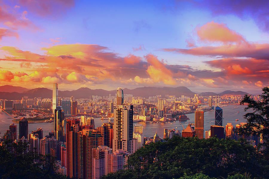 Sunset over Hong Kong City