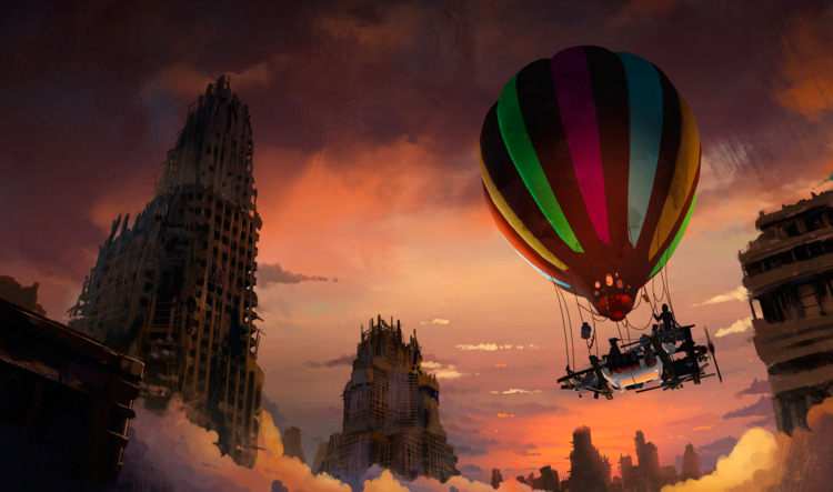 Hình khinh khí cầu anime cực đẹp