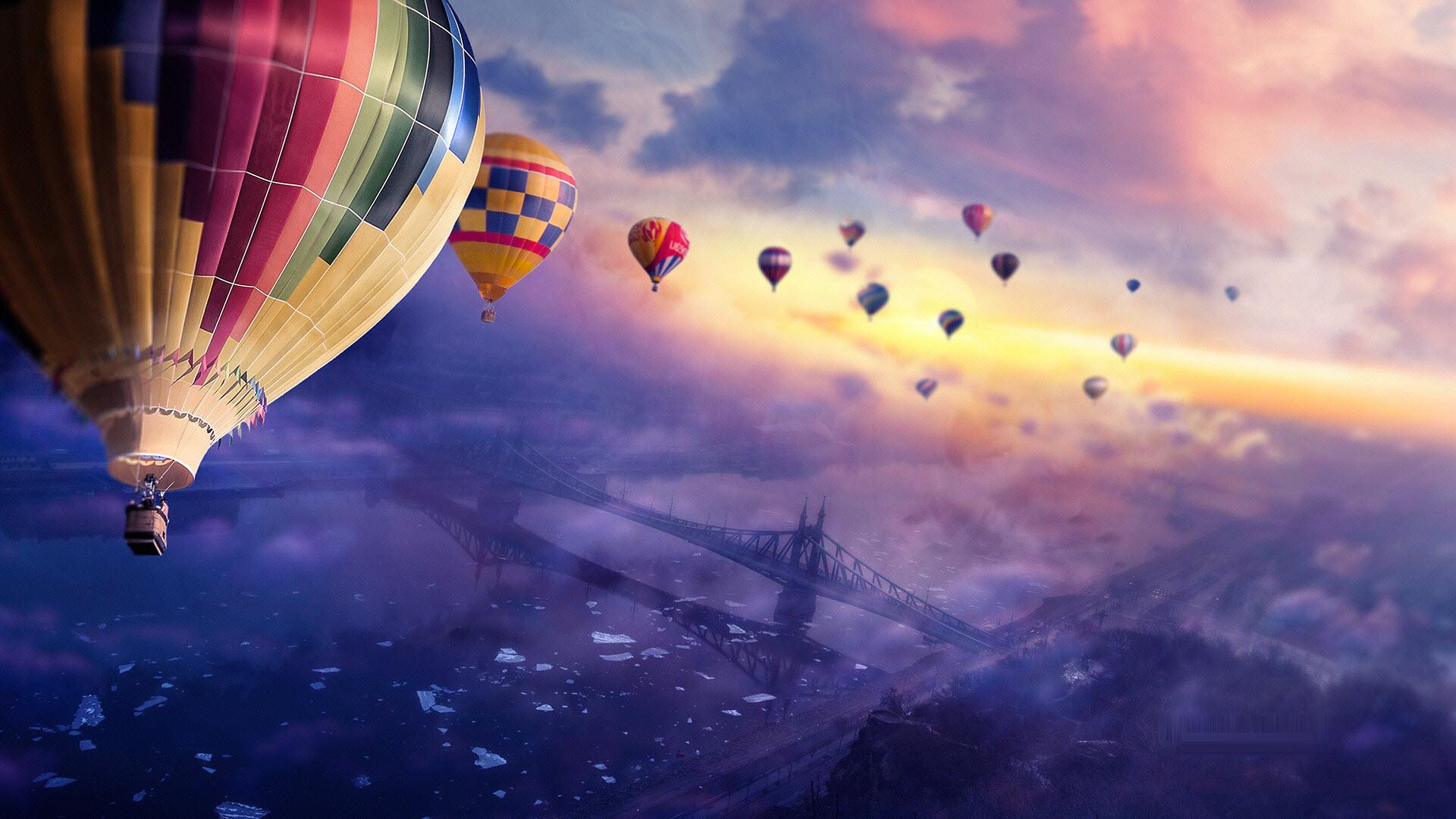 Hot Air Ballon Sunset Wallpaper