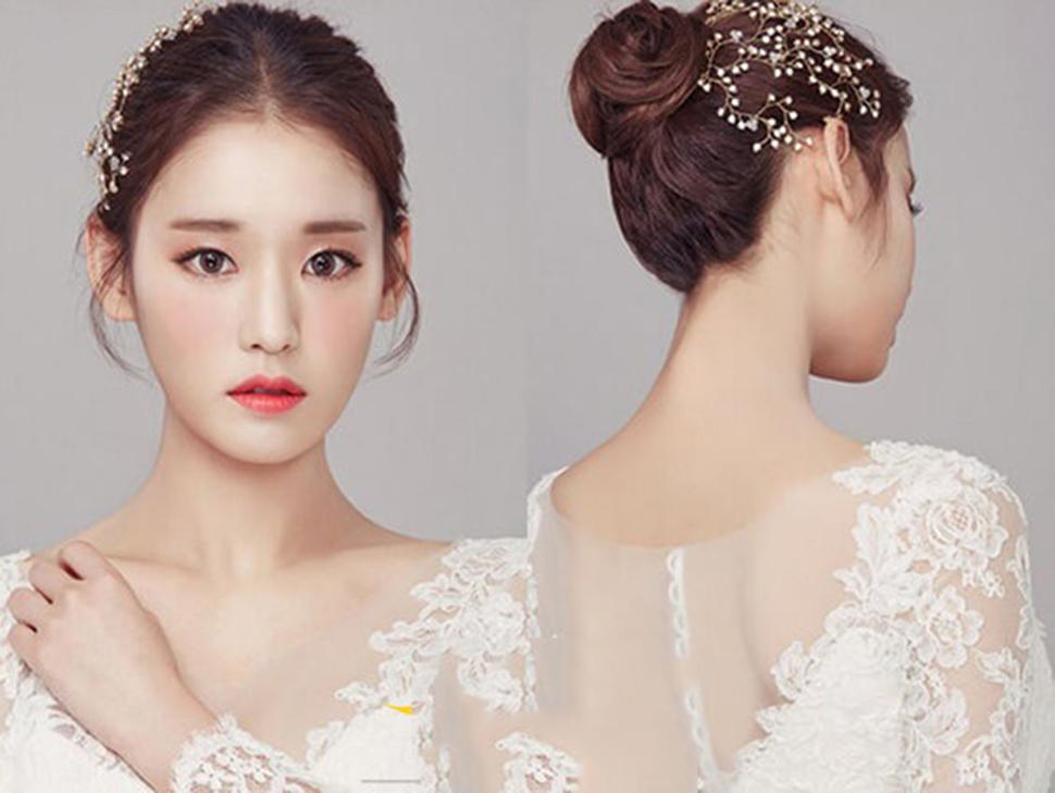Kiểu búi tóc cô dâu đơn giản mà đẹp