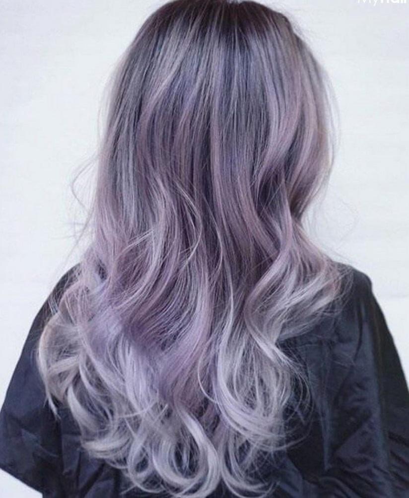 Kiểu tóc nhuộm tím khói đẹp
