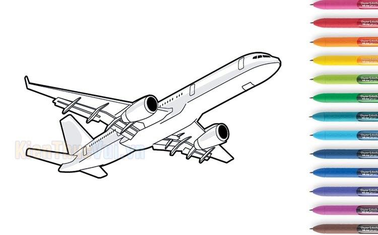 Tranh tô màu máy bay cho bé