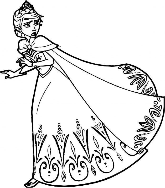 Trah tô màu công chúa Elsa đang bỏ chạy