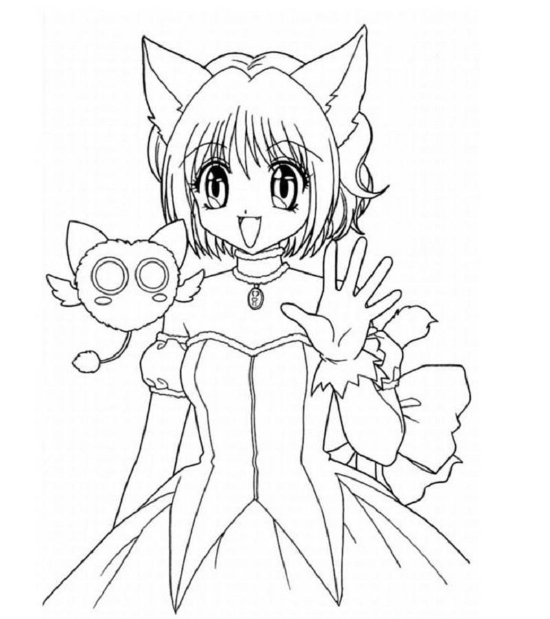 Tranh anime dễ thương dành cho bé tô màu