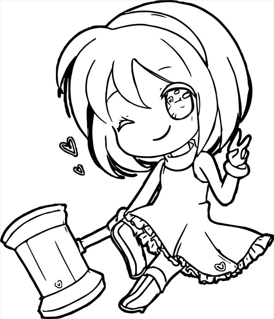Tranh tô màu Anime bé gái cực dễ thương