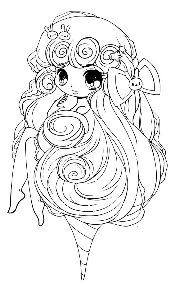 Tranh tô màu anime chibi dễ thương cho bé
