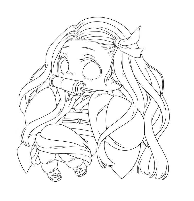 Tranh tô màu anime cô bé Nezuko dễ thương