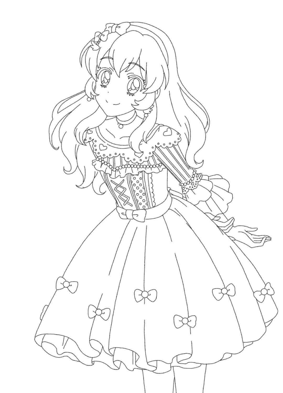 Tranh tô màu anime công chúa dễ thương