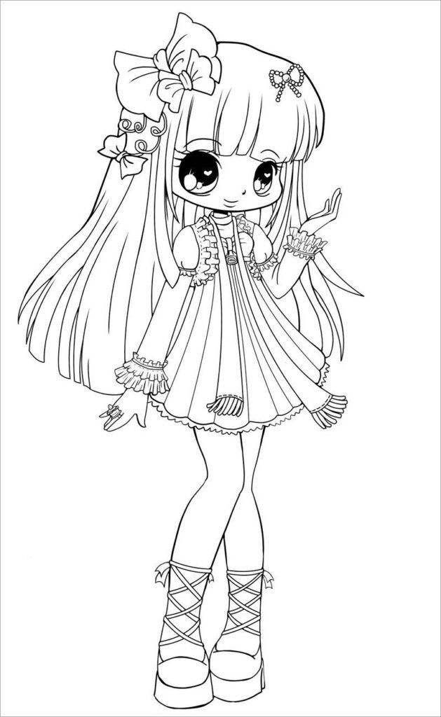 Tranh tô màu Anime girl vô cùng dễ thương cho bé