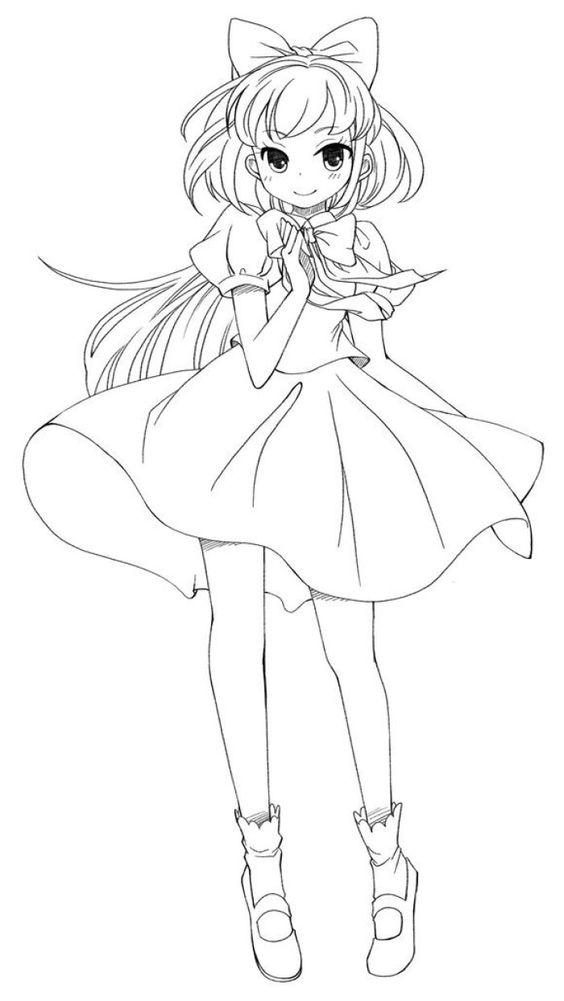 Tranh tô màu anime hình cô gái dễ thương