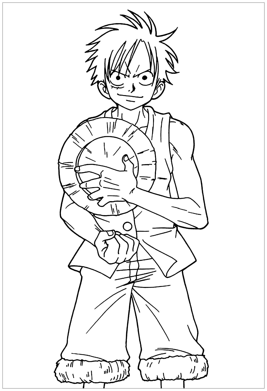 Tranh tô màu anime hình Luffy